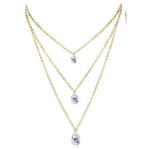 Jewelry - NWT Elegant Layered Crystal Teardrop Necklace